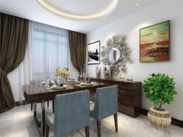餐厅放置了木质餐桌和皮制座椅,简单舒适,墙上放置两幅画,装饰挂件,并放置绿植,为户主就餐提供了良好的环境。