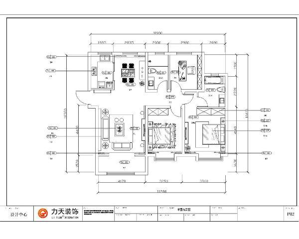 该户型为中冶贤德公馆D1户型3室2厅2卫1厨120㎡。