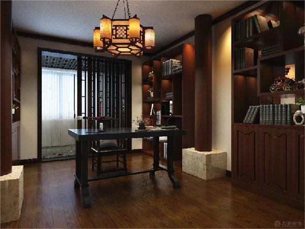 书房多宝阁和书架,中式装饰材料以木质为主,讲究雕刻彩绘、造型典雅,多采用酸枝木或大叶檀等高档硬木