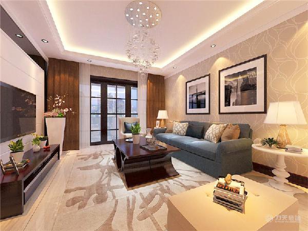 电视背景墙是采用黑色烤漆玻璃与石膏板拉风的结合,显得简单舒适又好看,地面是采用竖条状纹理800*800大地砖直铺。