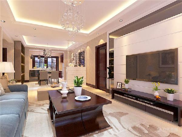 本方案客厅采用轻钢龙骨石膏板(可耐福)发光灯池吊顶