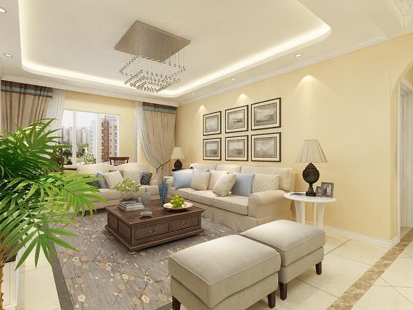 客厅电视背景墙采用护墙板与茶镜搭配中间以壁纸为中心,中间用上拱形造型,美观大方。