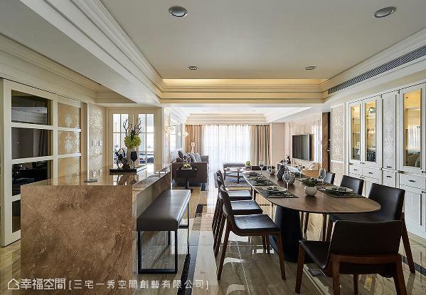 吧台呼应电视墙大理石材,独立拉出厨房外与餐厅共同规划,厚度仅十公分的精工语汇,使空间更见精致利落。