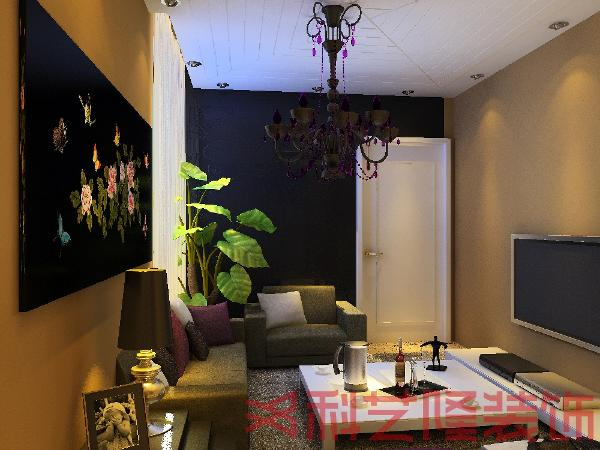 客厅布局是简约的沙发组合,经典的灰褐色的沙发组合配以简约的茶几和金属配饰,整个客厅就更加得符合和简约的设计风格.