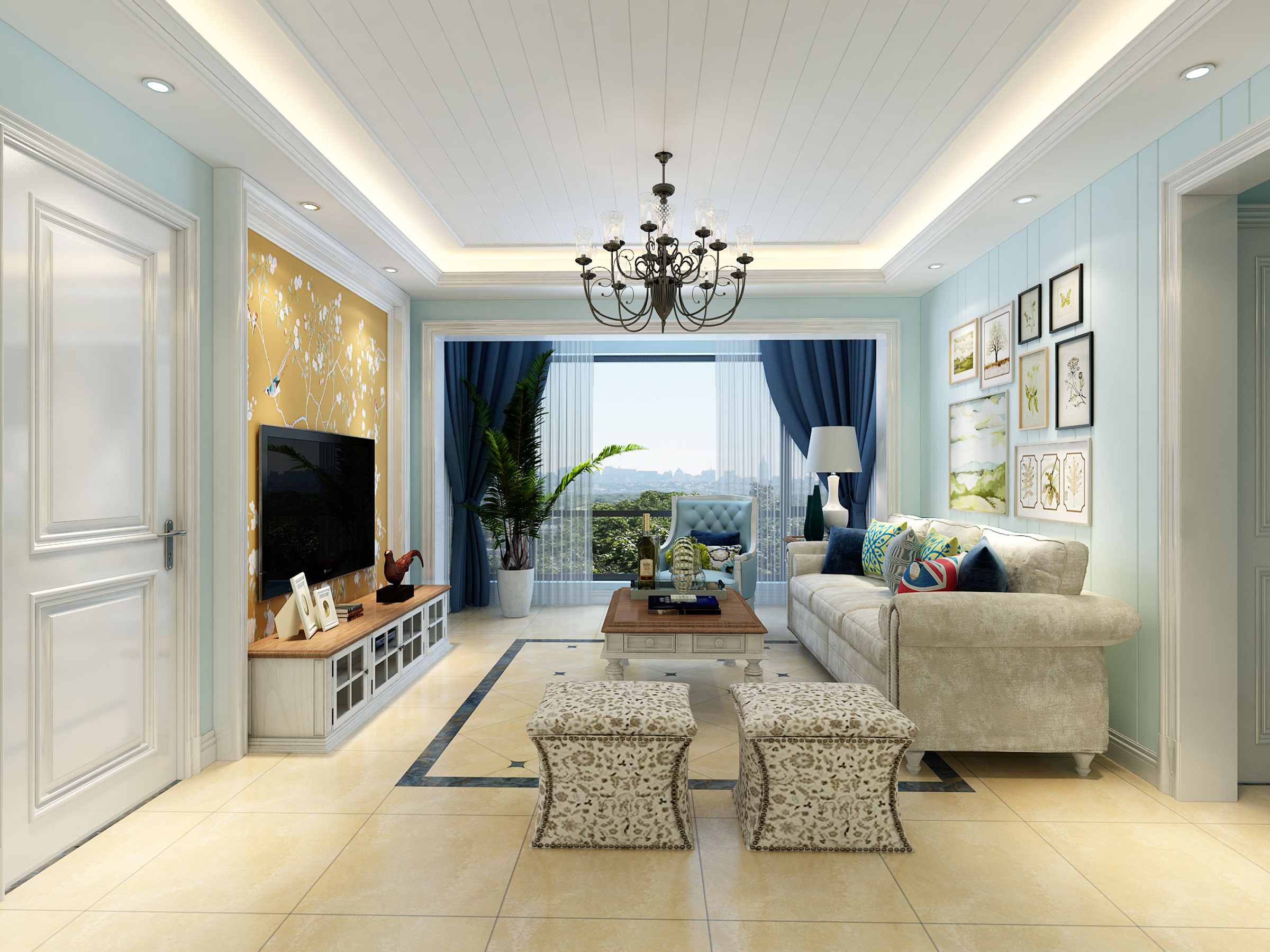 造型吊顶搭配氛围灯光增加观赏性,客厅中间吊顶采用石膏板凹槽的形式图片