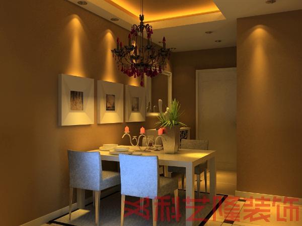 在餐厅中也是选用的是简约风格的白色餐桌和上面现代派的配饰,为设计又增加了一份亮点。