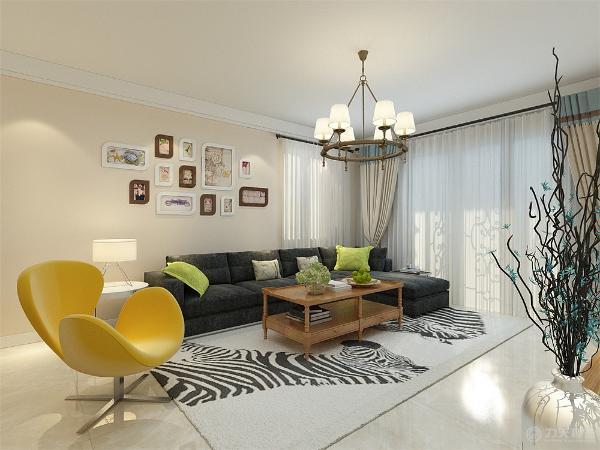 客厅是主人品位的象征,电视背景墙采用石膏板拉缝简单的造型但不失大方。
