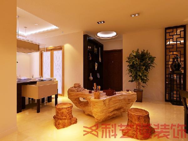 由于客餐厅的面积较大,所以中间以茶海作为划分,立马提升了整个空间的品味和意境。