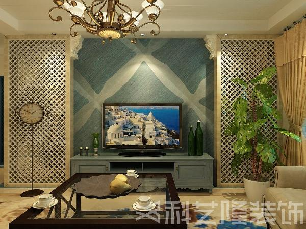 地中海风格的背景墙,简约浪漫,电视柜与背景墙的搭配统一。