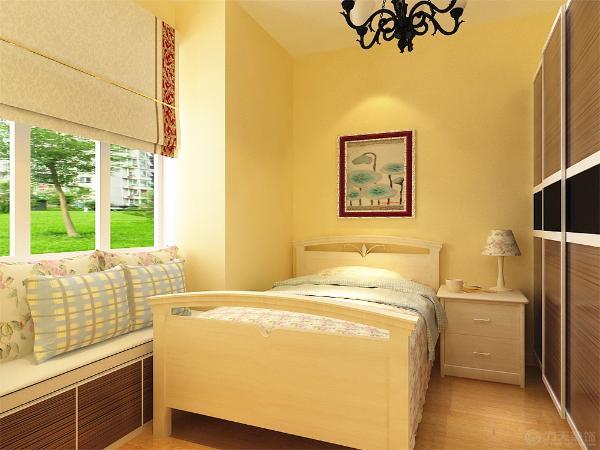 卧室全铺地板,主卧室床头铺壁纸,衣帽间放鞋柜以及衣柜,旁边放梳妆台与电脑桌一体的桌子。