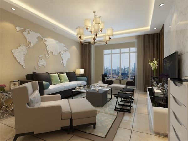 客厅采用了大理石的电视背景墙,沙发和装饰物品几乎为浅色,装饰性强,客厅是主人品味,身份的象征,体现了主人的品格与地位,也是交友娱乐的场合。