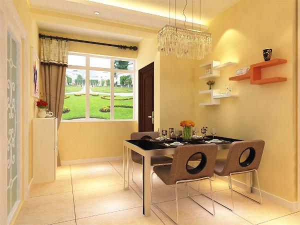 餐桌采用4人餐桌,墙上放展示架,可以放日常用品又可以放装饰品,地面采用800*800的地砖。