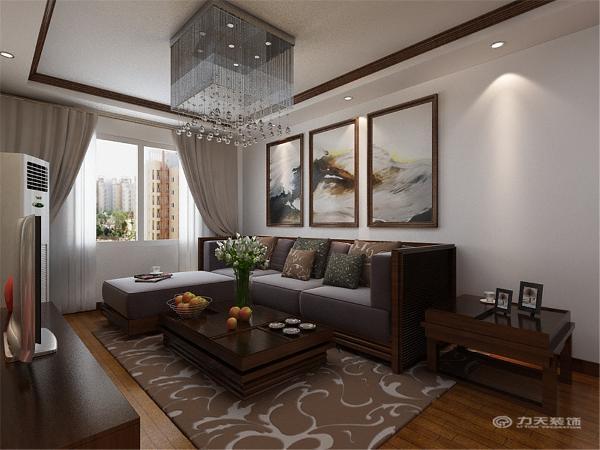 背景为三幅简单的中国风挂画,电视背景墙为一幅国画贴纸。整个空间风格协调,充分体现新中式风格的特点。