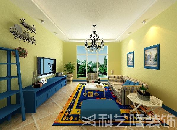 这是一套地中海风格的设计,白灰泥墙,海蓝色的屋瓦和门窗,以蓝色、白色、黄色为主色调,看起来明亮悦目。