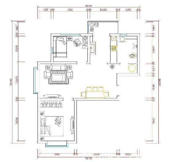 本户型的长宽空间安排比较合理,空间与空间的联系比较和谐,分为两厅两室,一厨一卫。入户门是餐厅,餐厅采用开场式的布局方式,这样的布局符合当代年轻人的思想,厨房外连接一个活动阳台,是很好的休憩空间。