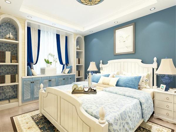 卧室应业主要求,在地中海风格上做一些小清新的元素在里面