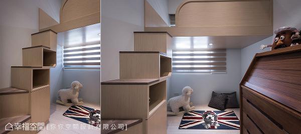 下方足以放置单人床,若夫妻俩未来有了双宝也不必担心;一侧的楼梯则妥善规划为收纳位置,增加小空间的坪效利用。
