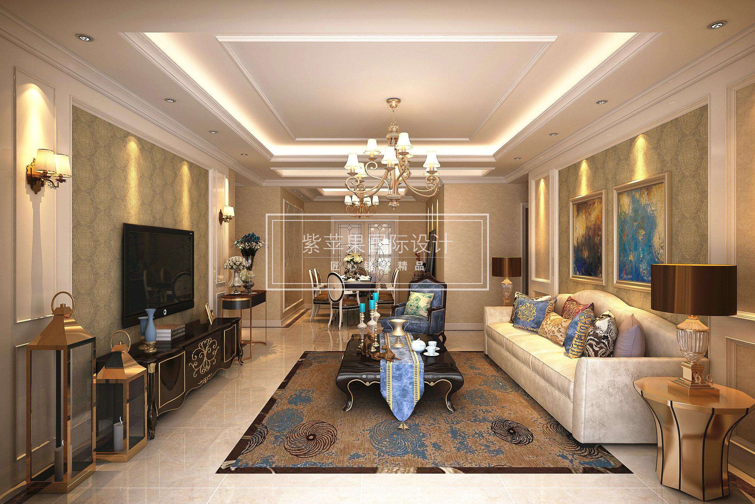 装饰主义大平层装修四居室设计80后客厅装修效果图片