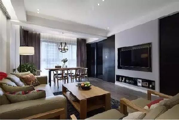 黑色金属的电视背景,间或浅灰色涂料来调和,各具一格又彼此相融。