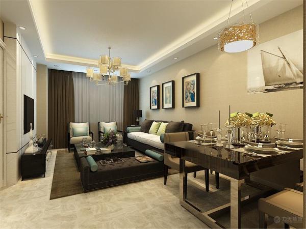 在客餐厅区域我们选择的是现在普遍的800*800的地砖,美观,充满现代气息。沙发选择的是棕色。使整个空间显得沉稳。