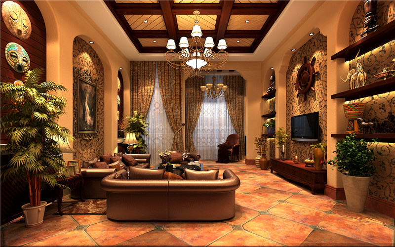 客厅图片来自轻舟装饰-90后的华仔在保利别墅-382平米-地中海风格的