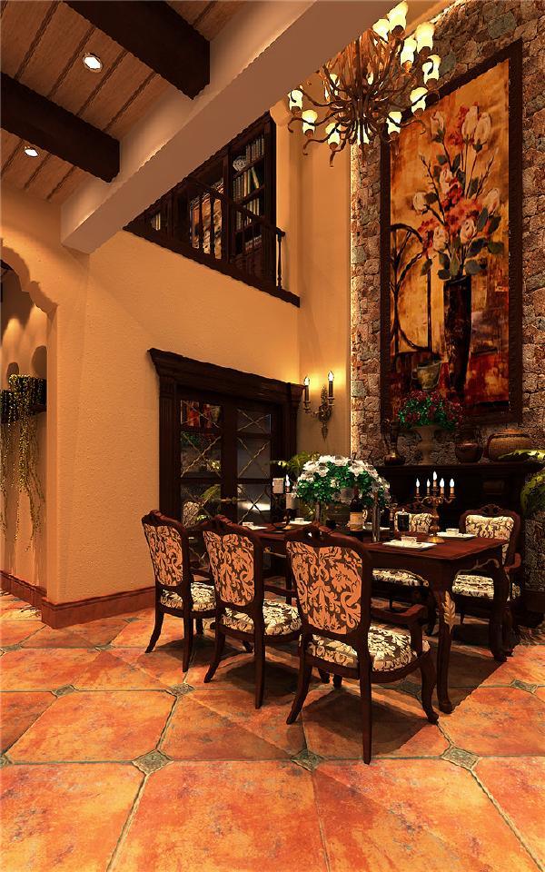 在餐厅处运用了乡村风情的造型同时运用了墙体油画效果,加强墙面的材质变化同时加强了色彩的跳跃性,由于地中海的粗狂感墙面大量运用了硅藻泥的肌理效果加强了墙面的质感。