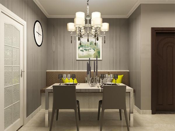 餐厅部分做了卡座,更加具有现代感。墙面是特殊反光壁纸,当然还是走的灰色调。