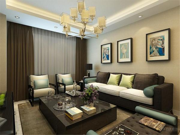 沙发背景挂了三幅简单的挂画,简单又符合整个空间的风格,电视背景墙铺的白色乳胶漆拉缝,充满现代科技的感觉。