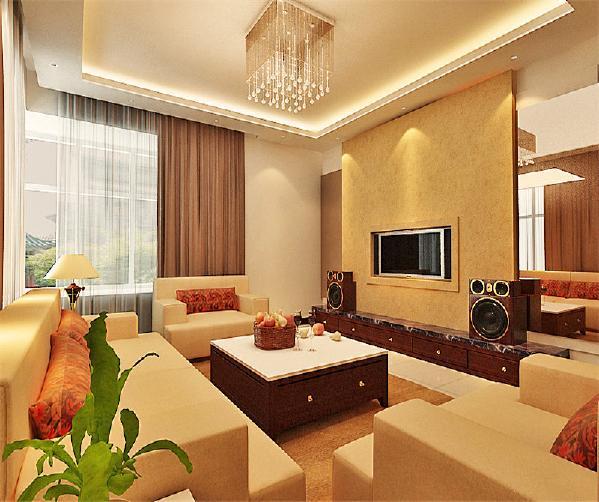 电视背景墙简约不失现代感,对称的茶镜,充分体现了中式现代感。主体色调以暖为主,使家的温馨感很好的体现出来。