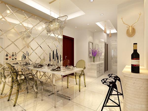 餐厅的设计背景墙设计成白色的玻璃反光镜面进行装饰,简洁的现代吊灯相互配合,家具选择透明的白色的餐具为主,餐厅的对面设计成一个吧台,供休闲时使用。