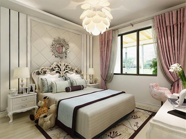 另外的一个卧室作为女儿房使用,因此色调相对清新粉嫩。在造型的设计上和家居的选择和布置上都体现了女孩子的内心特点。
