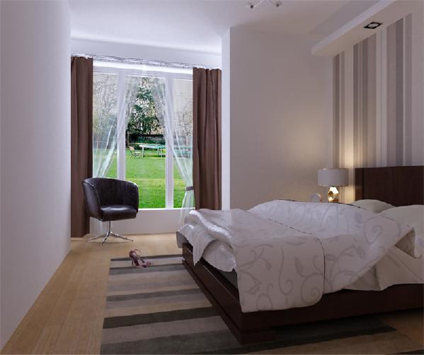 卧室落地窗配上简约式的风格,显得格外清新。