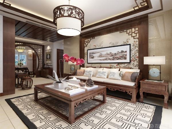 客厅影视背景墙使用木制造型打造,配上花卉背景,沙发背景墙在浅黄色大理石铺底的基础上使用木质造型搭配中式挂画做装饰。