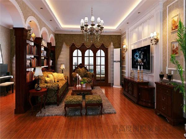 客厅顶部采用了常规的石膏板直线造型灯池。