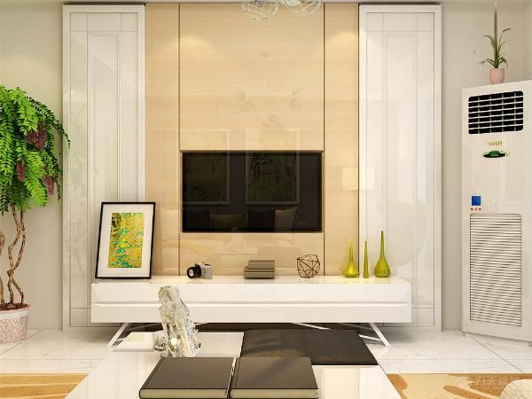 沙发的背景墙采用灰色的壁纸进行粘贴,两幅画作为陪衬,来做沙发背景墙,电视背景墙则采用石膏板以及石膏板拉缝进行装饰,米黄色的石膏板拉缝处于中间