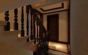 别墅 中式 小资 中式风格 楼梯图片来自方林装饰在逸景盛熙城320平中式装修案例的分享
