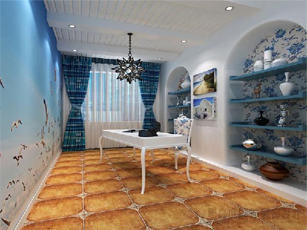空间多以白色为主色调,蓝色做点缀,再融入局部圆弧造型从而体现出地中海的文化底蕴。