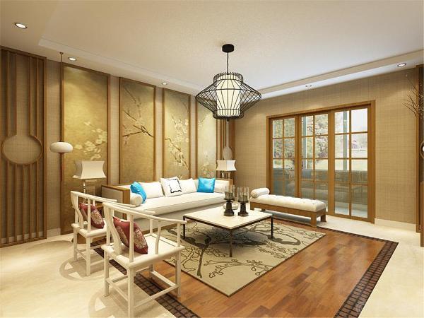 沙发选择了深色木质的家具,配以浅色的布料坐垫。
