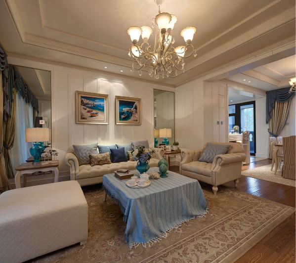 石膏线条的造型在墙面和顶面的运用起到简洁但是美观的装饰作用。灯具是标配产品哦。