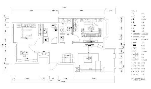 此户型为金地艺境三室两厅一厨一卫105㎡户型。