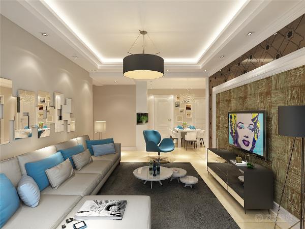 客厅采用石膏板跌级圈边做出灯池,配上客厅主灯,装上小射灯当做气氛灯,采用点光源,大部分使用射灯进行照明,给人以简洁的感觉。