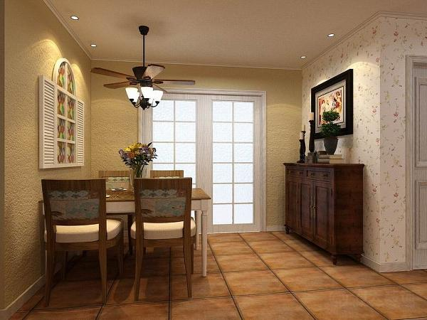 客餐厅墙面采用碎花壁纸和黄色乳胶漆,客厅吊顶运用了白色木地板进行装饰,给人一种临近自然的感觉。加以暖黄色的灯光,使室内空间更加温馨。