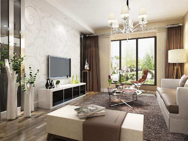 在整个装饰装修中客厅永远是比较着重表现的,在客厅电视背景墙的装饰上,没有多余的装饰,充分展示了简约不简单的设计理念。在电视墙的设计上。