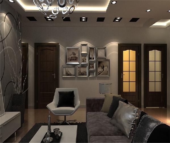 客厅:客厅影视墙则采用了平面构成的设计手法 ,不规则的几何造型框穿插了清油线条造型,形成点、线、面的设计形式。