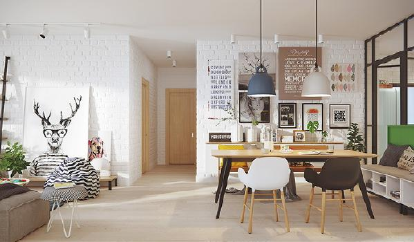 入户之后,左手边是厨房,右手边是卫生间,进入室内,则是客厅、餐厅相连的开放空间。