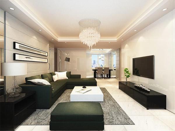 在客餐厅区域我们选择的是现在普遍的800*800的地砖,美观,充满现代气息。沙发选择的是深色布艺沙发,使整个空间看起来沉稳大气。