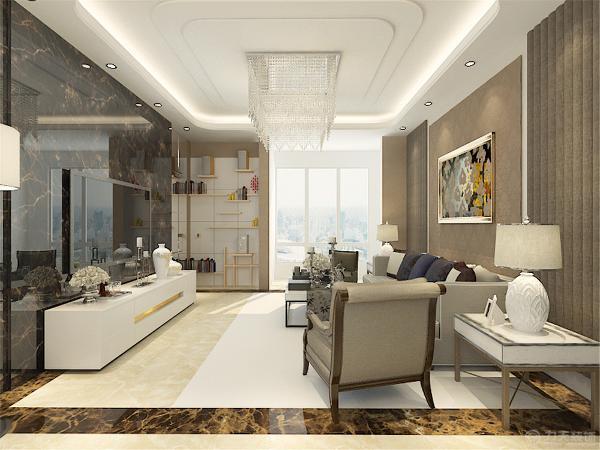 整体色调以浅色,暖色为主,地砖采用的是月光米黄的大理石,再加上咖啡纹的波打线。电视背景墙采用的石材加镜面玻璃的材料。两种材料都具有反射性,增强了空间的通透性。起到了扩大空间的视觉效果。