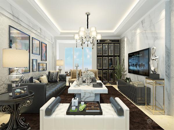 电视背景墙采用的是同样材质的大理石做拼接。珍珠白,搭配上地面的新雅米黄,使色调相协调、统一。