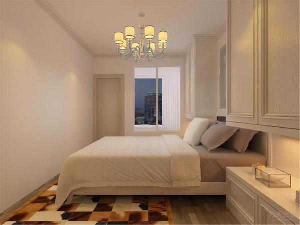 在卧室的设计中,同样我们采用了木色的木地板与金属吊灯相结合,白色的衣柜配搭绿色系的双人床使偏冷色系的空间有了少许温暖和亲切。