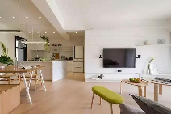 小户型做分区完全没必要用墙,利用不同的吊灯、家具摆设,自动划分,  可以保留开阔性。